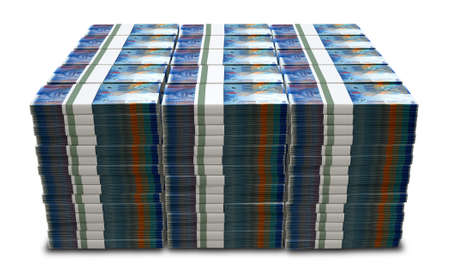 swiss franc: A stack of bundled Swiss Franc banknotes on an isolated background Stock Photo