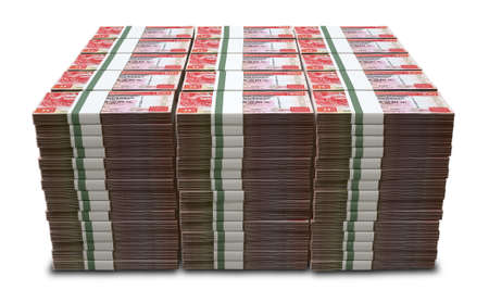 bundles: A stack of bundled hong kong dollar banknotes on an isolated background
