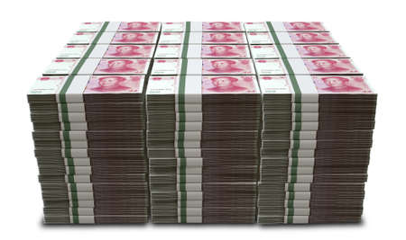 wads: A pile of stacked wads of chinese yuan banknotes on an isolated background