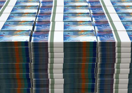 frank szwajcarski: Stos banknotów wiązanych Frank szwajcarski na pojedyncze tle Zdjęcie Seryjne