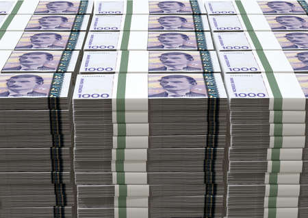 bundles: A stack of bundled Norwegian Krone banknotes on an isolated background Stock Photo