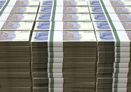 sterlina: Una pila di banconote in bundle Sterlina Inglese su uno sfondo isolato