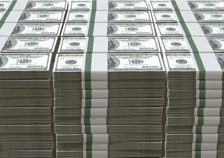 bundles: A pile of stacked wads of us dollar banknotes on an isolated background Stock Photo
