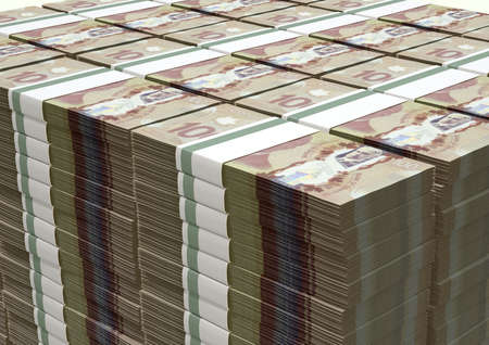 greenbacks: A stack of bundled Canadian Dollar banknotes on an isolated background Stock Photo