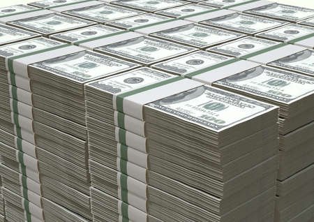 five dollars: A pile of stacked wads of us dollar banknotes on an isolated background Stock Photo