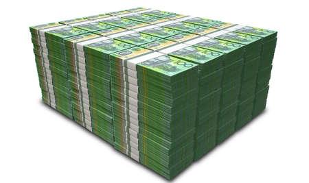 Un mucchio di mazzette di banconote in dollari australiani su un isolato di sfondo Archivio Fotografico - 30612629