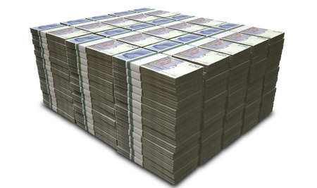 british money: A stack of bundled British Pound Sterling banknotes on an isolated background