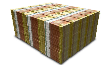 wads: A pile of stacked wads of south african rand banknotes on an isolated background Stock Photo