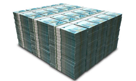 greenbacks: A pile of wads of brazilian real banknotes on an isolated background Stock Photo