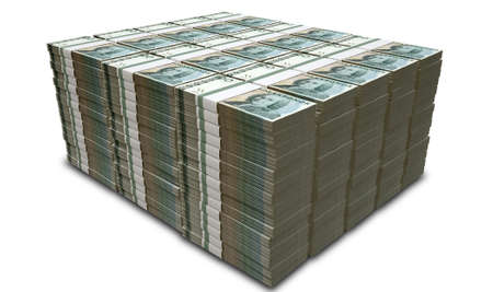 A pile of stacked wads of Swedish Krona banknotes on an isolated background photo