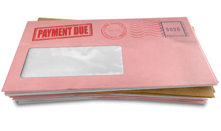 A stack of regular envelopes with delivery stamps and a clear window and the top pink one saying payment due symbolizing bills and debt on an isolated white background photo