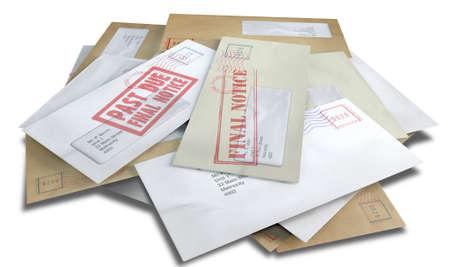comunicación escrita: Una pila dispersa de sobres con sellos regulares de entrega y una ventana transparente y la tapa rosada diciendo facturas pago debido simbolizaci�n y de la deuda en un fondo blanco aislado