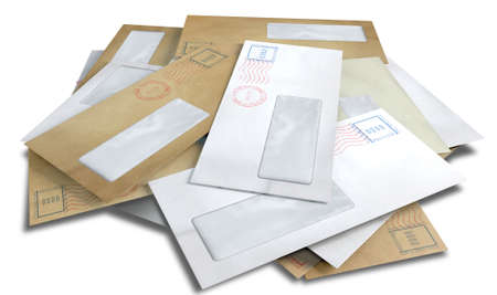 A scattered stack of regular envelopes with delivery stamps and a clear window on an isolated white background