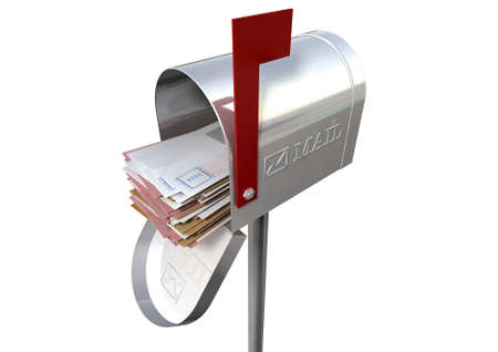 An open old school retro tin mailbox bulging with a stack of letters and envelopes crammed into it on an isolated background photo