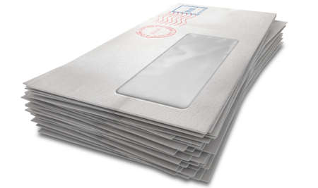 junk mail: A stack of regular white envelopes with delivery stamps and a clear window on an isolated white background