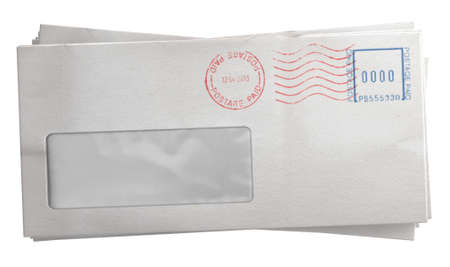 letter envelope: A stack of regular white envelopes with delivery stamps and a clear window on an isolated white background