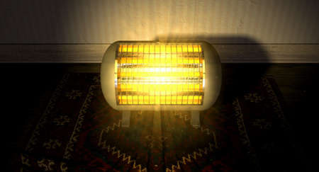 warmness: A cylindrical shaped electrical heater illuminated and radiating in an old room on a vintage red persian rug  Stock Photo