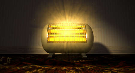 hotness: A cylindrical shaped electrical heater illuminated and radiating in an old room on a vintage red persian rug  Stock Photo