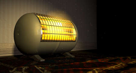A cylindrical shaped electrical heater illuminated and radiating in an old room on a vintage red persian rug  Stockfoto