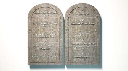 Zwei Steintafeln mit den zehn Geboten auf sie auf einem isolierten Hintergrund eingeschrieben Lizenzfreie Bilder