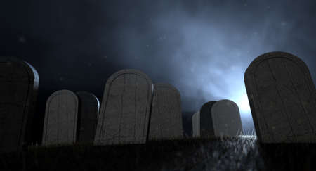 cadaver: Tombstones in a graveyard at night lit by an ethereal eerie light