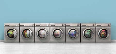 lavadora con ropa: Una vista frontal de una fila de lavadoras regulares cepillado de metal llenos de ropa en una habitación vacía con un piso de mosaico brillante y una pared azul bebé