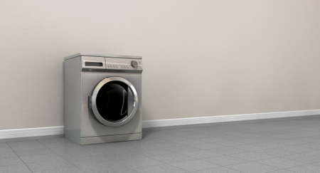 launderette: A perspective view of an empty regular brushed metal washing machine in an empty room with a shiny tiled floor and a grey wall