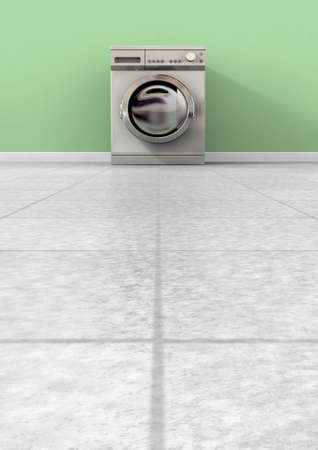 shiny floor: A front view of an empty regular brushed metal washing machine in an empty room with a shiny tiled floor and a green wall