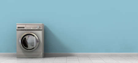 laundry room: A front view of an empty regular brushed metal washing machine in an empty room with a shiny tiled floor and a baby blue wall