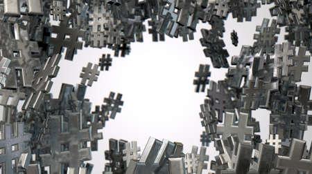 metadata: Un concetto di immagine che mostra una collezione di piccoli hashtags metalliche di varie dimensioni disposti in modo casuale su uno sfondo studio isolato