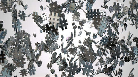 metadata: A concept image showing a collection of small metallic hashtags of various sizes arranged randomly on an isolated studio background