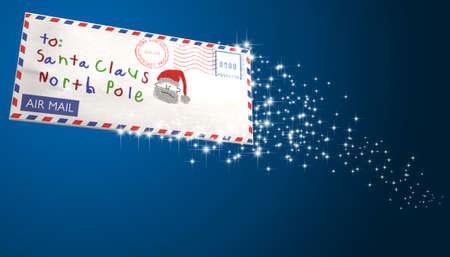 addressed: Una busta di posta aerea indirizzata a Babbo Natale volare in aria con una scia scintillante su un isolato di sfondo blu