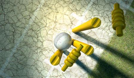 クリケットの白い革ボール草コオロギ ピッチ背景に木製クリケット ウィケットを打つ