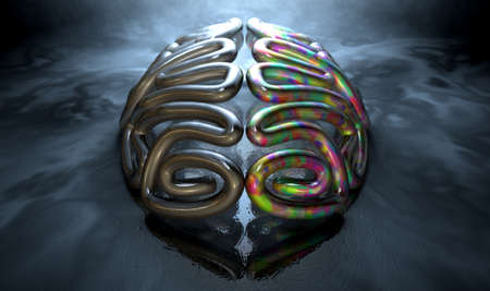 logical: A stylized metal casting depicting a brain with the left side depicting an conservative and logical mind, and the right side depicting a flamboyant and colorful side on an isolated eerie dark background with copy space Stock Photo