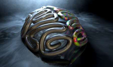 A stylized metal casting depicting a brain with the left side depicting an conservative and logical mind, and the right side depicting a flamboyant and colorful side on an isolated eerie dark background with copy space photo