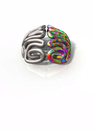 A stylized metal casting depicting a brain with the left side depicting an conservative and logical mind, and the right side depicting a flamboyant and colorful side on an isolated white background with copy space photo
