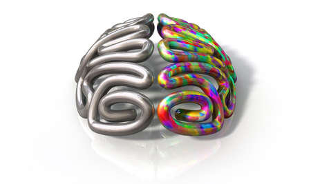 logical: A stylized metal casting depicting a brain with the left side depicting an conservative and logical mind, and the right side depicting a flamboyant and colorful side on an isolated white background with copy space