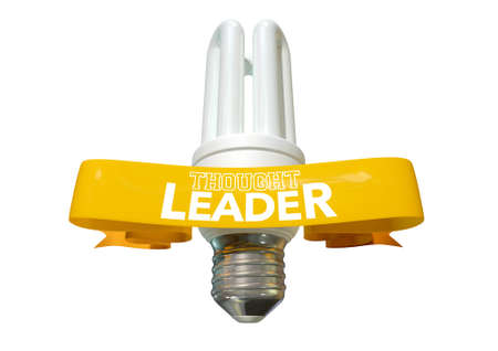 esteemed: A regular fluorescent light bulb with shiny yellow banner and the phrase thought leadership written on it on an isolated white background Stock Photo