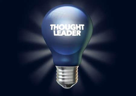 フレーズで通常青い電球思考リーダーシップと様式化された照射光線との分離、暗い青色の背景にそれを点灯 写真素材