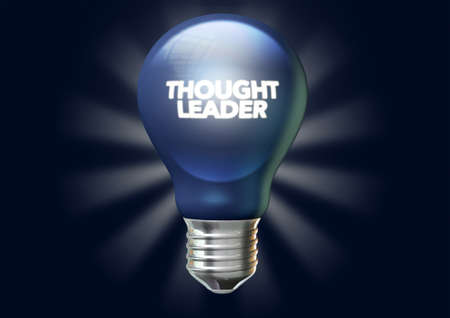 esteemed: A regular blue light bulb with the phrase thought leadership illuminated on it on an isolated dark blue background with stylized irradiating rays