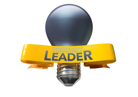 esteemed: A regular blue light bulb with shiny yellow banner and the phrase thought leadership written on it on an isolated white background Stock Photo