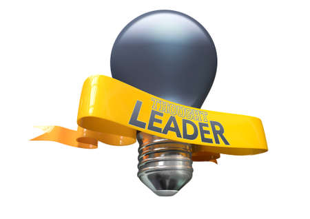 A regular blue light bulb with shiny yellow banner and the phrase thought leadership written on it on an isolated white background Stock Photo