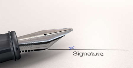 A white paper with a black line printed in ink showing the area for a signature to be signed and indicated with a hand written x with a fountain pen photo