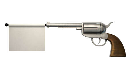 six shooter: A six shooter gun with a blank white flag coming out the barrel on an isolated white background