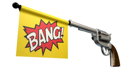 A six shooter gun with a flag coming out the barrel that says the word bang on it on an isolated white background Stock Photo