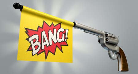 six shooter: A six shooter gun with a flag coming out the barrel that says the word bang on it on an isolated light background