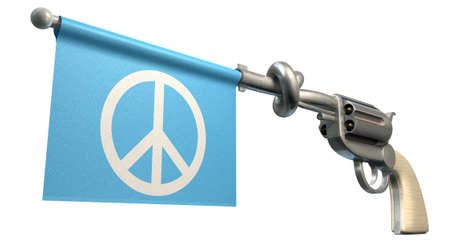 six shooter: A six shooter gun with a knotted barrel with a blue flag coming out with a peace symbol on it on an isolated white background