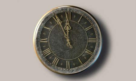 numeros romanos: Un primer extremo de una sección de un antiguo reloj redondo con números romanos y agujas de metal adornado acercan a la medianoche en un fondo oscuro aislado