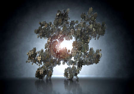 A concept image showing a collection of small metallic hashtags of various sizes arranged to make a larger hashtag on an idark eerie backlit background photo