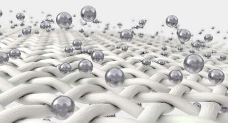 Een extreme vergroting van witte individuele nylon draden wordt gepenetreerd door zilver moleculen op een geïsoleerde achtergrond Stockfoto